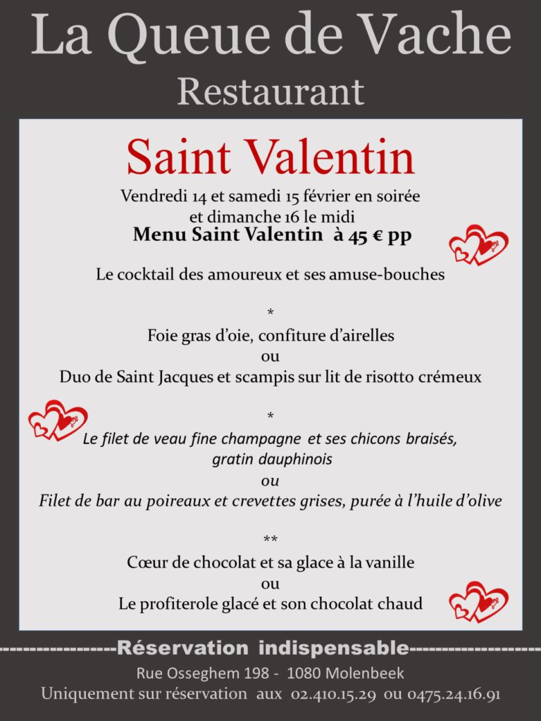 Restaurant La queue de vache saint valentin 2020